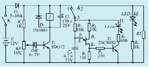 一款蓄电池过放电控制提示器电路