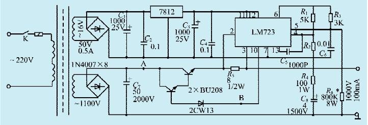 本文介绍的直流高压稳压电源既不采用振荡变频升压的方式,也不用倍压,而采用了普通的桥式整流,直接获取了直流高压电源,其电流可到100mA。稳压电路用的是集成稳压块LM723,采用悬浮式调压来实现输出电压稳定的。电路如图所示。   电路工作原理   LM723是通用型稳压集成块,内部含有启动电路、恒流源、基准电压源、差分放大及调整、保护电路。它既可直接用来制作电压<37V的直流稳压,又可悬浮式工作。在这里用LM723和外接高反压调整管相配合达到了上千伏高压的稳压。LM723为独立供电。调整管用的是彩电的行