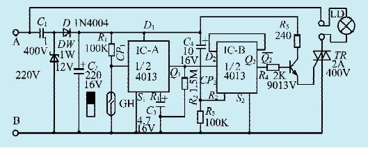 本文介绍的门控开关电路适用于家庭卫生间等使用,开门卫生间灯亮,进去后关上门灯仍亮;开门出卫生间灯灭,再关门灯仍灭。电路如图所示。   电路工作原理   该电路用IC双D触发器CD4013组成开关记忆电路,IC-A接成单稳电路,IC-B接成双稳电路。GH为常开型干簧管,平常门关着时GH闭合。开门时,GH断开,IC-A的Q1端输出高电平触发IC-B,使Q2输出高电平,双向可控硅导通,灯亮。IC-A的单稳时间由R2C3数值决定,图中元件数值的单稳时间为7秒,在此时间内无论GH启闭多少次Q1均输出高电平,故在