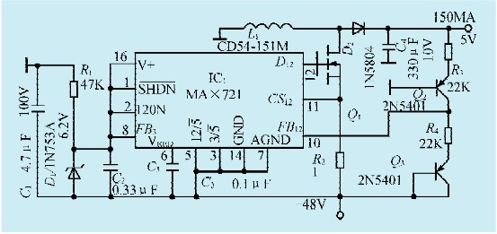 一款一48v/5v电压变换器电路-jdbpcb.com