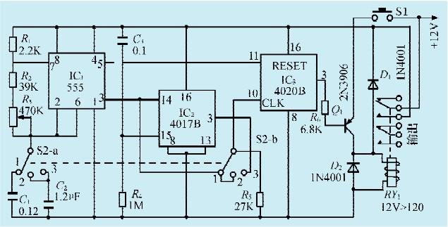 ic1为自激多谐振荡器,ic2为十进位分配器,ic3为14级脉冲二进制分配器.