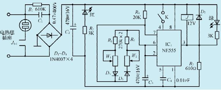 本文介绍的电路特点是强制开机、延时开机、定时关机。电路如图所示。   电路工作原理   当电路接通市电时,由R1、C1阻容限流降压,D1-D4整流,C2滤波获得+12V直流电,为IC1NE555和继电器J供电。IC1(4)脚上的开关K为单刀单掷开关,平时不接通,根据555电路原理,(4)脚不接高电位时555电路不工作,即(3)脚输出低电平,J吸合J1-1闭合,电热毯得电加热。此时延时开/关机电路不起作用,只有当人睡觉时,如感觉电热毯的温度合适需要时,才闭合K1电路自动延时开/关机。开机时间由R4、C3