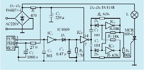 单向可控硅scr应与所选用白炽灯功率相当,以防过流击穿.
