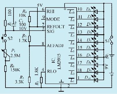 一款用光点显示时间的定时器电路