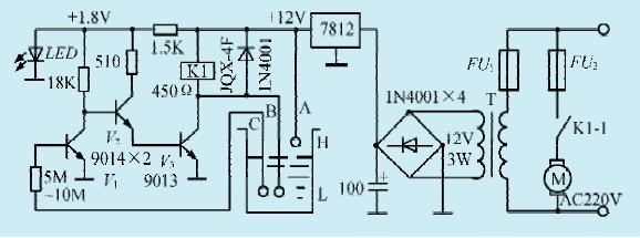 一款单相电动水泵水位控制电路