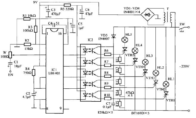 一款音乐彩灯控制电路(一)
