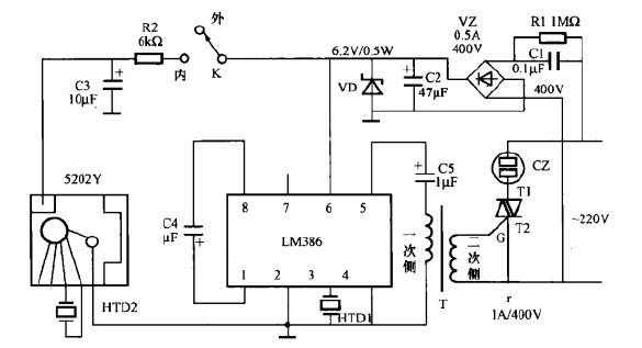 一款声控音乐彩灯控制器电路
