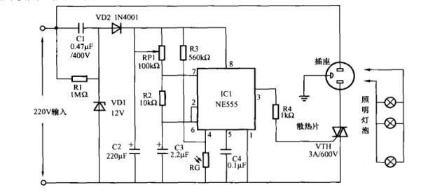 本文介绍的警示灯控制电路具有光控和闪烁两种功能,在夜间该电路能控制铃示灯自动开启并使其工作在闪烁状态,而白天则能自动关闭警示灯,其电路如图所示。   电路工作原理:电路采用了一片555时基集成电路芯片IC1,用其与相关外围元件组成了一个典型的间接反馈型可控式超低额振荡器,其振荡频率f=1.
