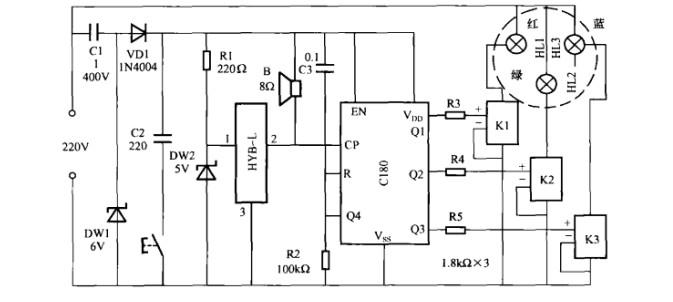 本文介绍的变色灯由三只普通彩色灯泡组成,它能随着优美音乐声的起伏而变色,并显示出七种颜色的灯光。这是根据三基色原理,以红、绿、蓝三种基色灯组成一个可变彩色单元,即把三个基色灯装人磨砂玻璃罩内(灯罩),通过灯罩的混色.由音乐信号控制,对外显示出七种颜色,其电路如图所示。   电路工作原理:由图可知,22OV交流电压经Cl降压,CW1稳压.VD1整流,C2滤波,为电路提供约6V稳定的直流工作电压;然后再经DW2稳压,为HY8-L提供4.