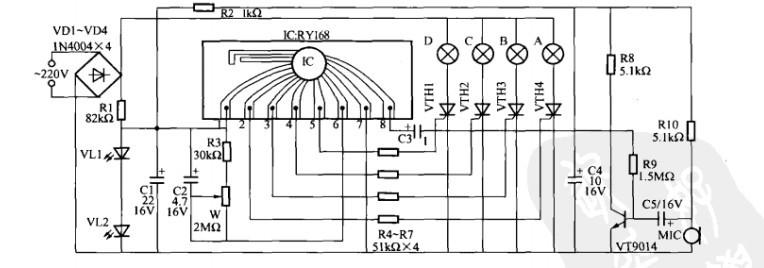 一款卡拉OK灯光控制器电路