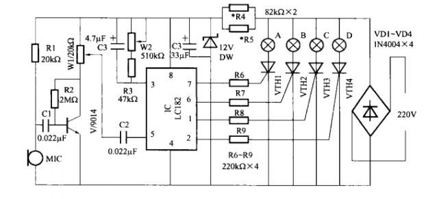 一款声控式卡拉OK灯光控制器电路