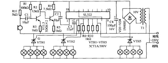 一款舞厅彩灯控制器电路