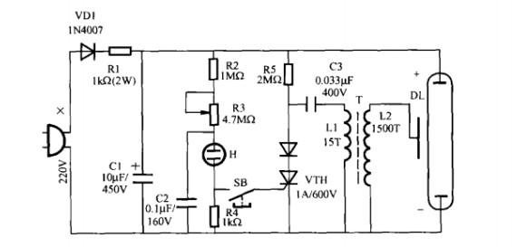 c2,r2-r4和氖管h组成晶闸管触发电路,按下按钮开关sb,单向晶闸管vth将