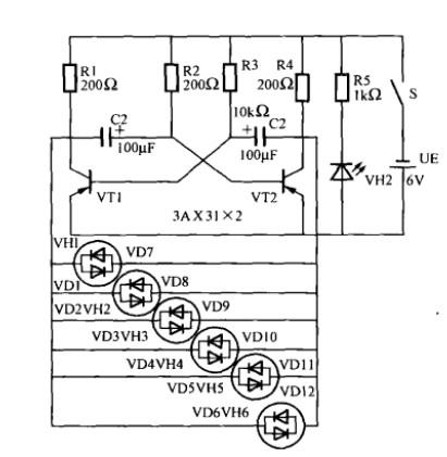 花出三极管多谐振荡器电路图