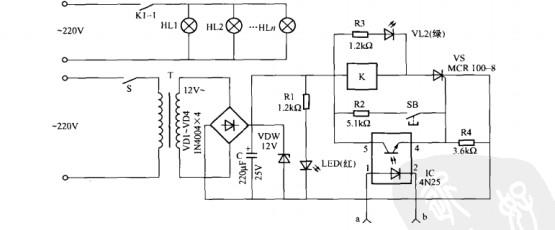 元器件选择:变压器t可选用220v/l2v 2w电源变压器,vd1-vd4为整流