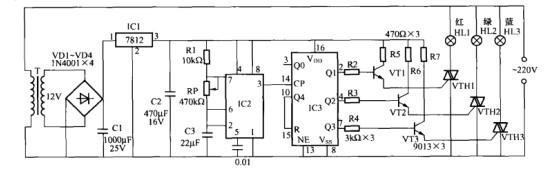一款装饰灯循环发光控制电路