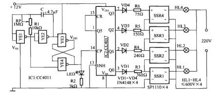 一款霓虹灯循环控制电路