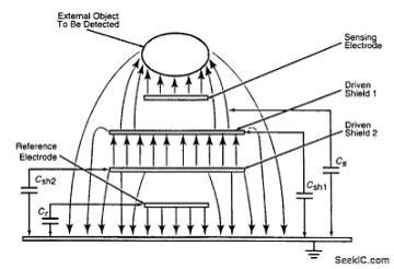 可以感应电极和电接地间的电阻器磁场的电容式传感器系统电路图