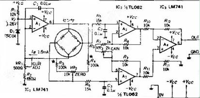 电桥式传感器电路图