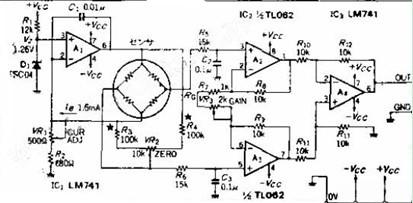 一款由电阻应变片按照惠斯通电桥原理组成电桥式传感器电路图