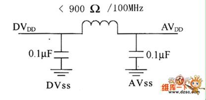AD50模拟和数字电源的连接电路图