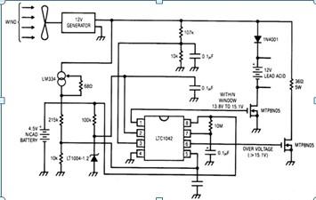 风力发电机电池充电电路图