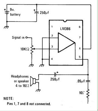 走向的耳机放大器电路