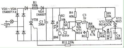 光敏电阻延时节电开关电路图