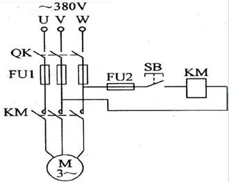 三相异步电动机点动控制电路图
