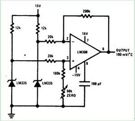 一款能感受温度并转换成可用输出信号的差分温度传感器电路图