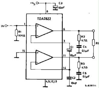 来自音源或前级放大器的弱信号放大的立体声迷你小功放电路图 图片