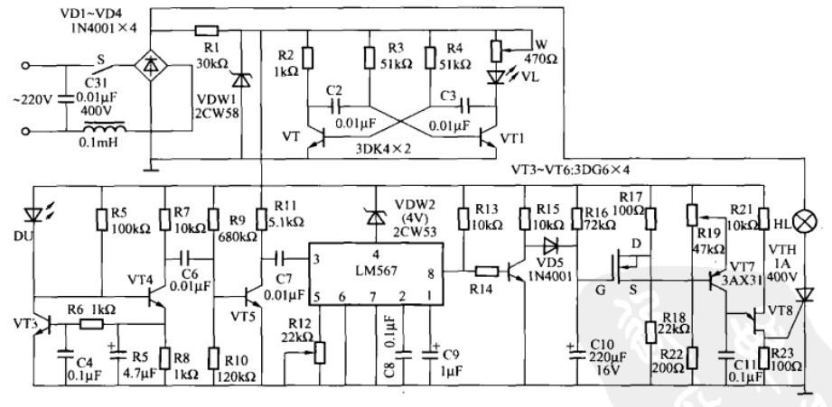一款自动调光台灯控制电路(二)