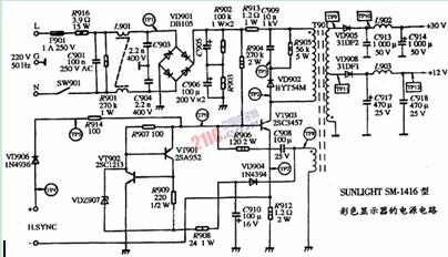 彩色显示器的电源电路图