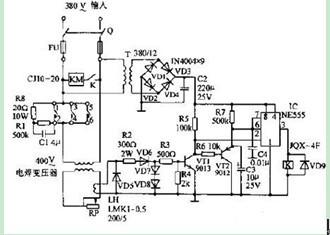 一款可延时交流接触器的频繁动作时间电焊机空载节电电路图