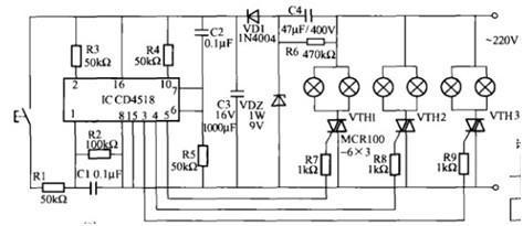 一款用计数器构成控制电路可使多个灯中的一组或几组点亮的吊灯电路图