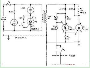 一款通过对水位的检测控制来控制电路的通断的液面控制器原理电路图