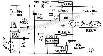 一款阻容降压式供电道路施工自动启停闪烁警示灯控制电路图