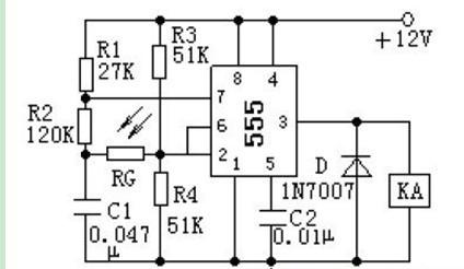 一款555构成的将光敏电阻RG 外露,不需要调试就可正常工作光电控制电路图