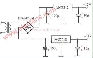 为负载提供稳定交流电源或直流电源的7812稳压电源电路图图片