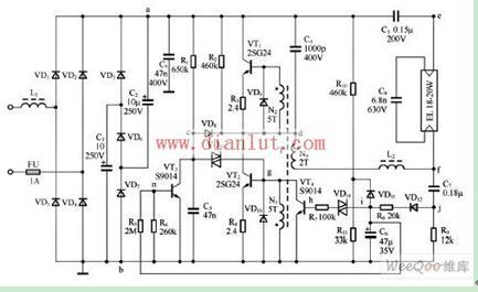 20w荧光灯电子镇流器电路图