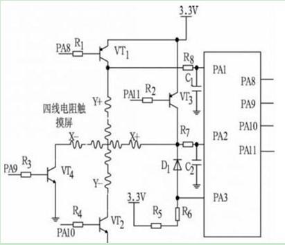 四线电阻触摸屏的接口电路图