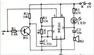 一款用一块555时基集成电路和少量外围元件组成的声