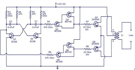 一款把直流电能转变成交流电60W逆变器使用的晶体管电路图图片