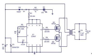 一款使用集成电路cd4047和mosfet irf540组成的简单100w逆变器电路图
