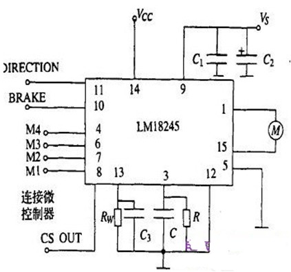 外接控制器来控制电机的转速和转向的lmd18245驱动直流电动机的电路图