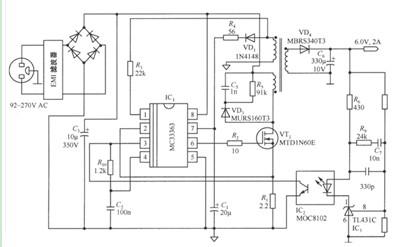 MC33363构成的6V/2A隔离式电源电路图