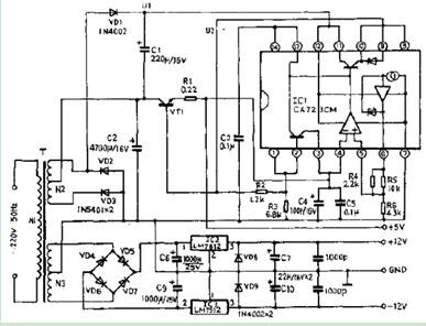 精密串联型稳压电源电路图
