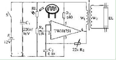 光敏电阻光控升压电路图