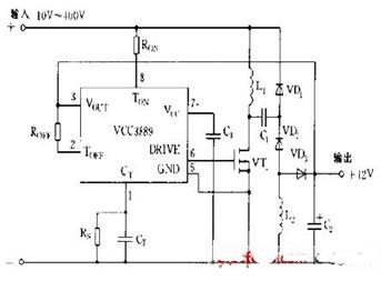 一款可改变导通与关断时间使输出电压稳定的ucc3889典型应用电路图