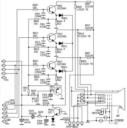 度 色度和同步信号的视频放大器电路图图片